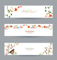 collection cards with foliate ornament and flowers vector image vector image
