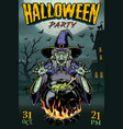 colorful halloween party vintage poster vector image