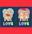 couple teddy bears love theme placard vector image vector image