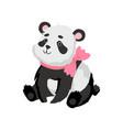 cute bapanda bear with pink bow on his neck vector image vector image