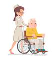 cute doctor attendant nurse elderly caring vector image vector image