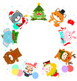 cute kids and animal in christmas costumes vector image vector image