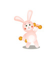 cute pink rabbit make morning sport with metal vector image vector image