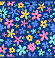 cute seamless pattern with adorable little flowers vector image