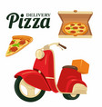 delivering pizza on a red moped pizza isolated vector image