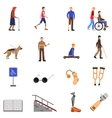 Disabled Handicapped People Flat Icons Set vector image vector image