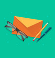 envelope with glasses and pen or pencil on desk vector image vector image
