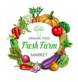 farm vegetable isolated veggies round frame vector image vector image
