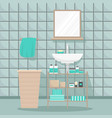 flat isolated of a bathroom vector image