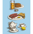 Food pictures for menu breakfast vector image