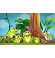 Frogs sitting on the grass vector image vector image