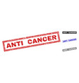 grunge anti cancer scratched rectangle stamp seals vector image vector image