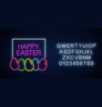 happy easter glowing signboard with eggs and vector image
