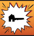 home key sign comics style icon on pop vector image vector image