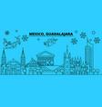 mexico guadalajara winter holidays skyline merry vector image vector image