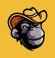 monkey with cowboy hat vector image