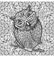 owl with glasses coloring page poster vector image