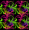 pattern from neon lines and hieroglyphs for vector image