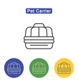 pet carrier line icon vector image vector image