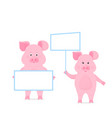 pig hold a blank sign clean poster empty poster vector image vector image