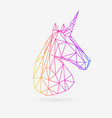 polygonal unicorn colorful low poly vector image