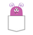 purple monster silhouette in pocket looking vector image vector image