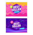set bestseller banners with abstract memphis vector image