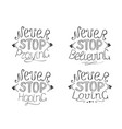 set of 4 hand lettering quotes never stop praying vector image