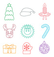 Set of Christmas icons outline Multicolored vector image vector image