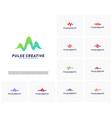 set of medical pulse or wave logo design vector image