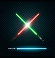 set of realistic light swords crossed sabers vector image