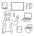 set teacher and teaching equipment vector image