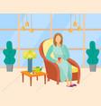 spa or beauty salon woman drinking tea vector image