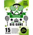 tennis sport game tournament championship vector image vector image
