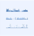 three dutch skylines vector image