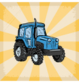 vintage grunge background with traktor vector image vector image