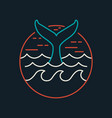 whale icon in flat line art with ocean waves vector image vector image