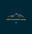 wild mountain camping linear badge vector image vector image