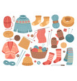 winter knit clothes knitting hobby wool cloth vector image vector image