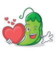 with heart peas mascot cartoon style vector image vector image