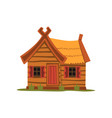 wooden country house traditional eco house vector image vector image