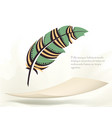 writing old colorful feather with flying paper vector image vector image