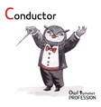 Alphabet professions Owl Letter C - Conductor vector image vector image