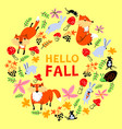 autumn wreath with foxes cute fall season frame vector image vector image