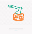 axe in the stump thin line icon vector image