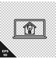 black line laptop with smart house and light bulb vector image vector image