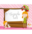 Border design with girls and dogs vector image