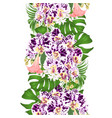 border seamless background with tropical flowers vector image vector image