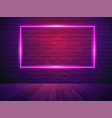 brick wall room background neon light vector image vector image
