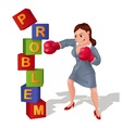 Businesswoman is prevailing over problem vector image vector image